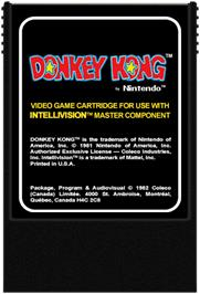 Cartridge artwork for Donkey Kong on the Mattel Intellivision.