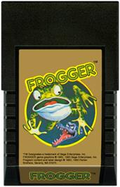 Cartridge artwork for Frogger on the Mattel Intellivision.