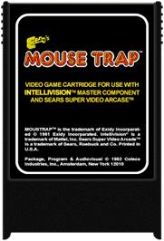 Cartridge artwork for Mouse Trap on the Mattel Intellivision.