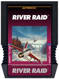Cartridge artwork for River Raid on the Mattel Intellivision.