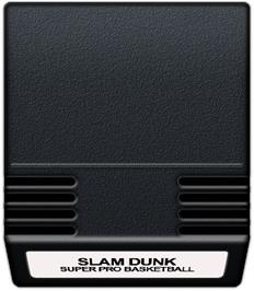 Cartridge artwork for Slam Dunk: Super Pro Basketball on the Mattel Intellivision.