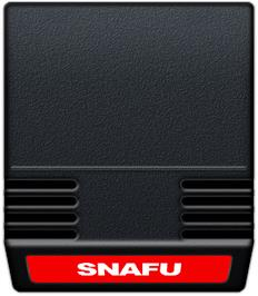 Cartridge artwork for Snafu on the Mattel Intellivision.