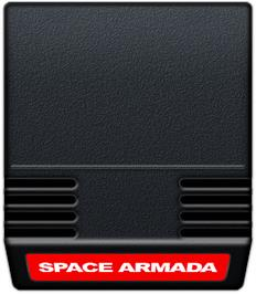 Cartridge artwork for Space Armada on the Mattel Intellivision.