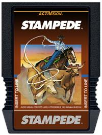 Cartridge artwork for Stampede on the Mattel Intellivision.