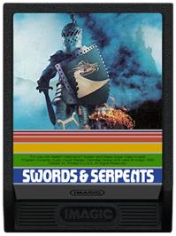 Cartridge artwork for Swords and Serpents on the Mattel Intellivision.