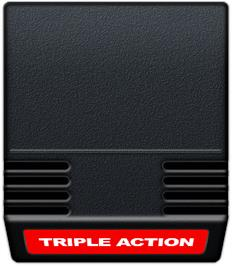 Cartridge artwork for Triple Action on the Mattel Intellivision.