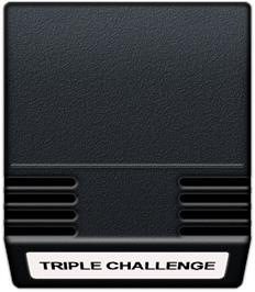 Cartridge artwork for Triple Challenge on the Mattel Intellivision.