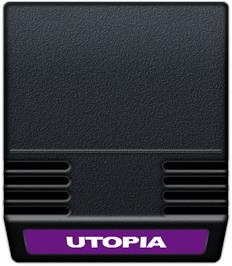 Cartridge artwork for Utopia on the Mattel Intellivision.