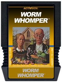 Cartridge artwork for Worm Whomper on the Mattel Intellivision.