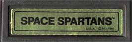 Top of cartridge artwork for Space Spartans on the Mattel Intellivision.