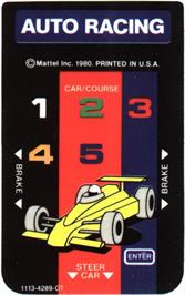 Overlay for Auto Racing on the Mattel Intellivision.