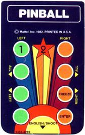 Overlay for Pinball on the Mattel Intellivision.