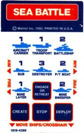 Overlay for Sea Battle on the Mattel Intellivision.