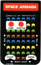Overlay for Space Armada on the Mattel Intellivision.