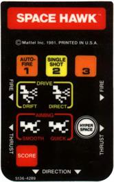 Overlay for Space Hawk on the Mattel Intellivision.