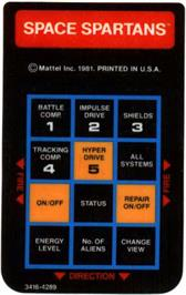 Overlay for Space Spartans on the Mattel Intellivision.