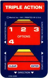 Overlay for Triple Action on the Mattel Intellivision.