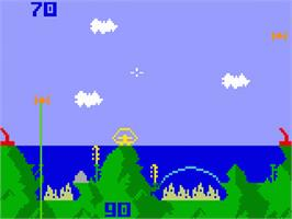 In game image of Atlantis on the Mattel Intellivision.