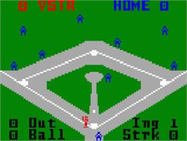 In game image of Baseball on the Mattel Intellivision.