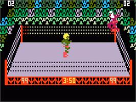 In game image of Body Slam: Super Pro Wrestling on the Mattel Intellivision.