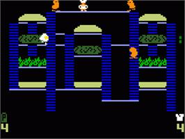 In game image of Burger Time on the Mattel Intellivision.