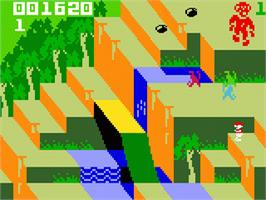 In game image of Congo Bongo on the Mattel Intellivision.