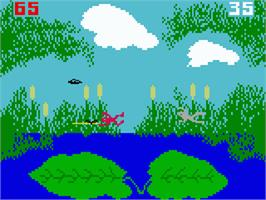In game image of Frog Bog on the Mattel Intellivision.