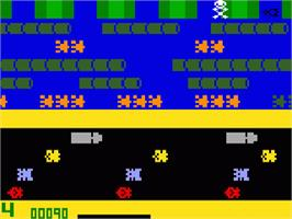 In game image of Frogger on the Mattel Intellivision.