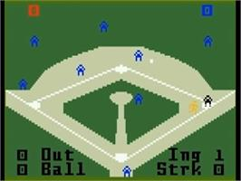 In game image of Major League Baseball on the Mattel Intellivision.