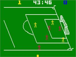In game image of NASL Soccer on the Mattel Intellivision.