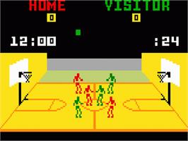 In game image of NBA Basketball on the Mattel Intellivision.