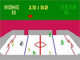 In game image of NHL Hockey on the Mattel Intellivision.