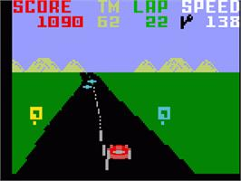 In game image of Pole Position on the Mattel Intellivision.