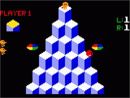 In game image of Q*bert on the Mattel Intellivision.