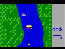 In game image of River Raid (Version 1) on the Mattel Intellivision.