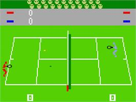 In game image of Tennis on the Mattel Intellivision.