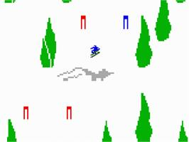 In game image of U.S. Ski Team Skiing on the Mattel Intellivision.