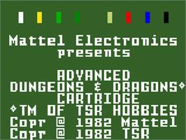 Title screen of Advanced Dungeons & Dragons: Treasure of Tarmin on the Mattel Intellivision.
