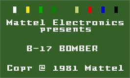 Title screen of B-17 Bomber on the Mattel Intellivision.
