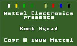 Title screen of Bomb Squad on the Mattel Intellivision.