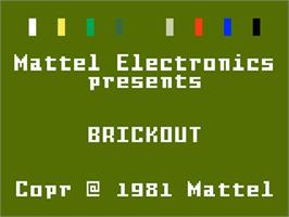 Title screen of Brickout on the Mattel Intellivision.