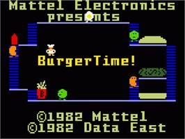 Title screen of Burger Time: New Levels Hack on the Mattel Intellivision.