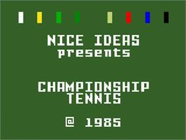 Title screen of Championship Tennis on the Mattel Intellivision.