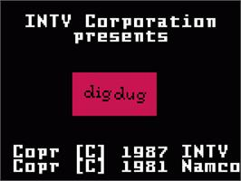 Title screen of Dig Dug on the Mattel Intellivision.