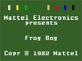 Title screen of Frog Bog on the Mattel Intellivision.