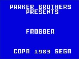 Title screen of Frogger on the Mattel Intellivision.