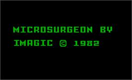 Title screen of Microsurgeon on the Mattel Intellivision.