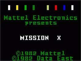 Title screen of Mission-X on the Mattel Intellivision.