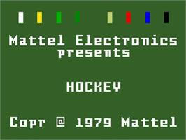 Title screen of NHL Hockey on the Mattel Intellivision.
