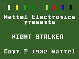 Title screen of Night Stalker on the Mattel Intellivision.
